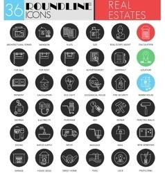 Real estates circle white black icon set vector image vector image