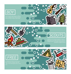 set of horizontal banners about boy scouts vector image vector image