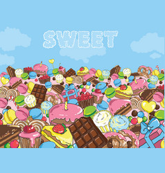 sweets filled entire landscape to the horizon vector image vector image