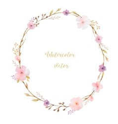 Watercolor round frame vector
