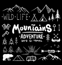 black and white camping collection of icon made vector image