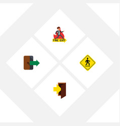 flat icon exit set of emergency entry direction vector image vector image