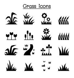grass icon set vector image vector image
