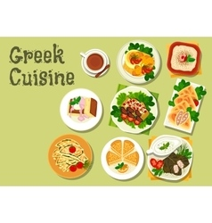 Greek cuisine lunch dishes for menu design vector image vector image