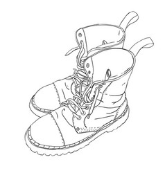 hand drawn sketch with army boots vector image