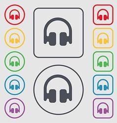 Headphones Earphones icon sign symbol on the Round vector image