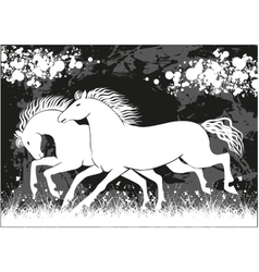 running black and white horses vector image vector image
