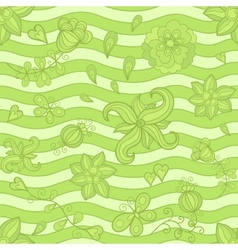 seamless pattern doodle flowers Green mosaic vector image