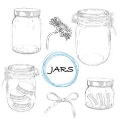 set hand drawn jars Vintage vector image vector image