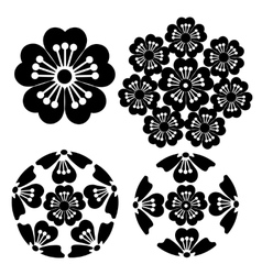 The stylized sakura flower japanese symbolism vector