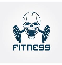 aggressive skull and barbell fitness emblem vector image