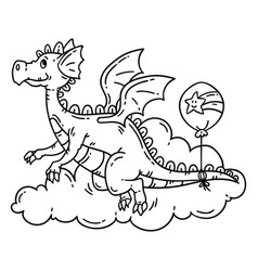 cute cartoon flying dragon vector image