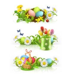 easter spring flowers 3d banner set vector image vector image