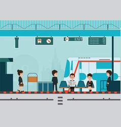 people wait for a train at train station platform vector image