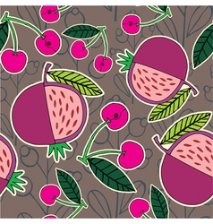 pomegranate and cherry pattern vector image