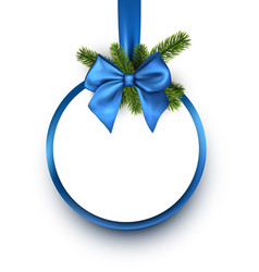 round christmas background with blue bow vector image