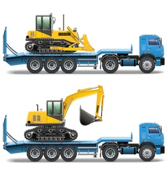 Trailer with tractor vector