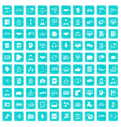 100 discussion icons set grunge blue vector image