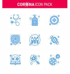 9 blue corona virus pandemic infection engagement vector