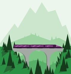 Abstract landscape design with green mountains vector