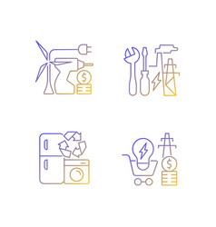 Alternative energy gradient linear icons set vector