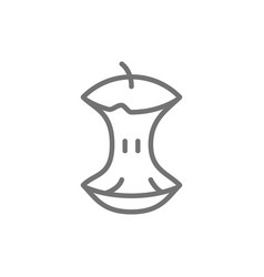 Apple core food waste garbage line icon vector