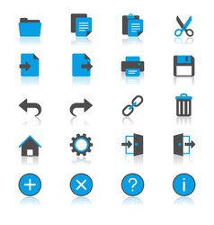 Application toolbar flat with reflection icons vector image