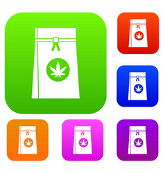 bag with cannabis set collection vector image