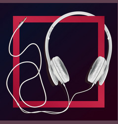 big earphones white vector image