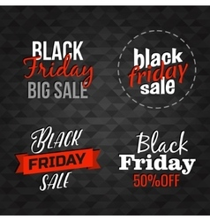 Black Friday lettering signs collection vector image