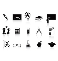 Black school icon set vector