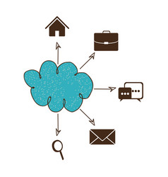 Blue cloud icons network service connection vector