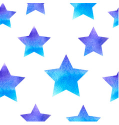 blue watercolor pattern with stars vector image
