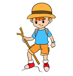 boy climbing character style design vector image