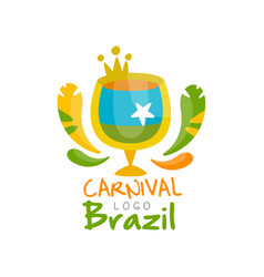 Brazil carnival logo design festive party banner vector