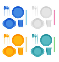 Bright plastic tableware and napkins isolated vector