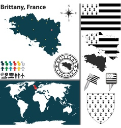 Brittany map vector image