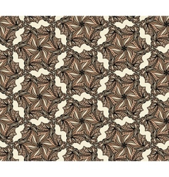 Brown seamless with hexagonal flowers vector image