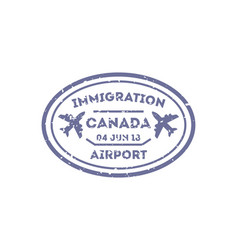 Canada country visa stamp on passport vector
