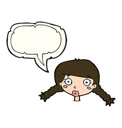 Cartoon confused female face with speech bubble vector