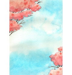 Cherry blossom tree with blue sky watercolor vector