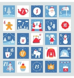 Christmas Advent Calendar Countdown Poster vector image