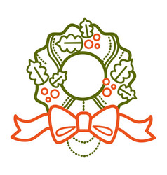 christmas wreath made mistletoe traditional vector image