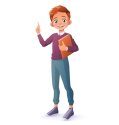 Clever smiling boy index finger pointing up vector