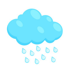 Cloud with rain drops icon cartoon style vector image