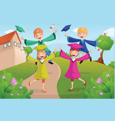 college students celebrating graduation vector image