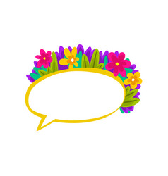 Colorful speech bubble with flowers empty dialog vector
