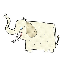 Comic cartoon happy elephant vector