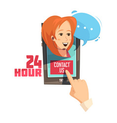 contact us retro cartoon vector image