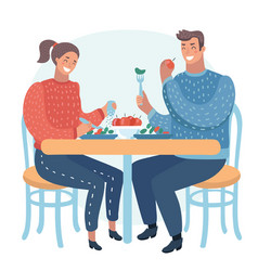 Couple having a dinner in street cafe vector